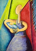 Original Art Pastels Originals - In the arms of a mother by Michael Alvarez