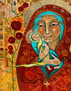 Virgin Mary Posters - In the Beginning Was the Word Poster by Shiloh Sophia McCloud