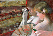 Glove Box Framed Prints - In the Box Framed Print by Mary Stevenson Cassatt