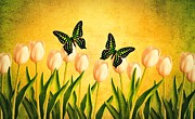 Flower Design Prints - In the Butterfly Garden Print by Edward Fielding
