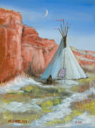 Native American Woman Prints - In the Canyon Print by Jerry McElroy