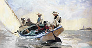 Boys Painting Framed Prints - In the Catboat Framed Print by Stefan Kuhn