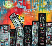 Cityscape Mixed Media Posters - In The City 2 Poster by Laura Barbosa