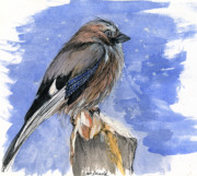 Bird Drawings Originals - In The Cold Winter Night by Angel  Tarantella