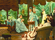 Tea Tree Framed Prints - In the Conservatory  Framed Print by James Jacques Tissot