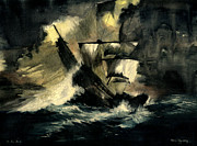 Famous Ship Painting Posters - In The Dark Poster by Melly Terpening