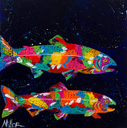 Trout Painting Originals - In the Depths by Tracy Miller