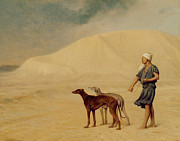 Dog Posters - In the Desert Poster by Jean Leon Gerome