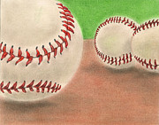 Baseball Drawings Posters - In the Dirt Poster by Troy Levesque