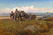 Cowboy Art Digital Art Posters - In The Enemys Country Poster by Charles Russell