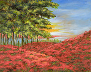 Drippy Painting Posters - In the Field of Poppies Poster by Vic  Mastis