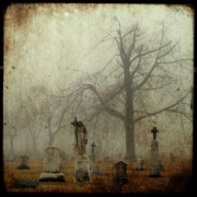 Cemetery Digital Art - In the fog - you can see her by Gothicolors With Crows