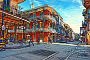 Streetscape Digital Art Acrylic Prints - In the French Quarter painted Acrylic Print by Steve Harrington