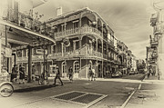 Mardi Gras Digital Art Framed Prints - In the French Quarter sepia Framed Print by Steve Harrington