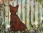 Janelle Nichol Posters - In The Garden Abstract Folk art painting of a Cat Poster by Janelle Nichol