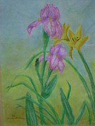 Yellow Flowers Pastels Posters - In The Garden Poster by Leann DeGrace