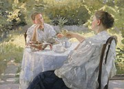 Chatting Prints - In the Garden Print by Lukjan Vasilievich Popov