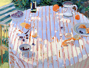 Outdoor Still Life Painting Prints - In the Garden Table with Oranges  Print by Sarah Butterfield