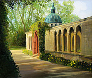 Park Scene Paintings - In The Gardens of Sanssouci by Kiril Stanchev
