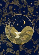 Machine Quilting Tapestries - Textiles Prints - In the Gold of the Night Print by Jean Baardsen