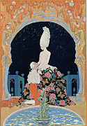 Courting Painting Prints - In the Grotto Print by Georges Barbier