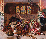 Rugs Prints - In the Harem Print by Rudolphe Ernst
