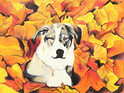 Fall Leaves Pastels Posters - In  the leaves Poster by Jeanne Fischer