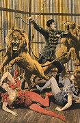 Nineteen Tens Drawings - In The LionÕs Cage 1910s Uk Lion Tamers by The Advertising Archives