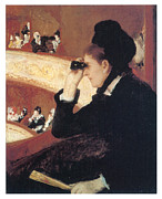 Woman In Black Dress Paintings - In the Loge by Mary Cassatt