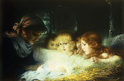 Religious Painting Posters - In the Manger Poster by Hugo Havenith