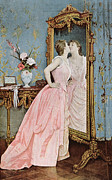 Mirror Drawings Metal Prints - In the Mirror Metal Print by Auguste Toulmouche