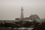 Maine Lighthouses Photo Prints - In the Mist Print by Joann Vitali
