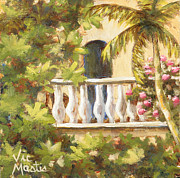 Vic Mastis Painting Metal Prints - In the Oasis with Gold Leaf by Vic Mastis Metal Print by Vic  Mastis