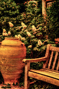Wood Bench Prints - In the Old English Garden Print by Julie Palencia