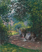 Parasols Framed Prints - In the Park Monceau Framed Print by Cluade Monet