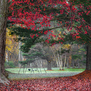 Red Leaves Photos - In the Park Square by Bill  Wakeley