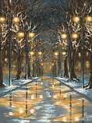 Winter Trees Digital Art Metal Prints - In the park Metal Print by Veronica Minozzi