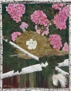 White Tapestries - Textiles Originals - In the Pink by Anita Jacques