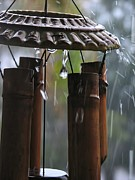 Wind Chimes Posters - In The Rain Poster by Peggy J Hughes