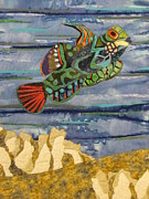 Fabric Collage Tapestries Textiles Prints - In the Reef Print by Lynda K Boardman