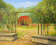 Park Scene Paintings - In The Rose Garden by Kiril Stanchev