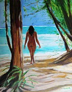 Nude Art Paintings - In the Shade by Judy Kay