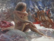Nudes Painting Originals - In the Shadows by Anna Bain