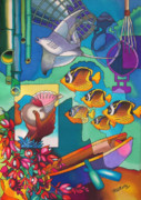 Tropical Fish Paintings - In the Shadows of Sleeping Giant Mountain V by Maria Rova