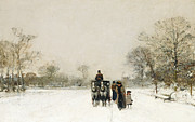 Winter In The Country Paintings - In the Snow by Luigi Loir