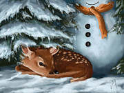 Winter Night Digital Art Posters - In the snow Poster by Veronica Minozzi