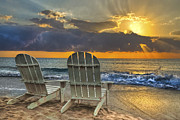 Sunset Seascape Prints - In The Spotlight Print by Debra and Dave Vanderlaan