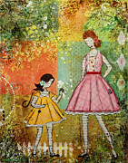 Janelle Nichol Prints - In The Springtime Unique mixed media Folk Art of Children Print by Janelle Nichol