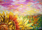 Field Of Sunflowers Paintings - In the Sun by Agnes Kaminski