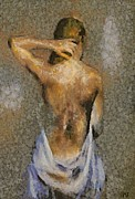 Impressionism Art Paintings - In the Turkish Bath by Dragica  Micki Fortuna
